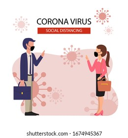 Social distancing example for greeting to avoid spreading corona virus. Flat design vector.