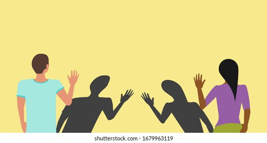 Social distancing greeting concept vector where two people avoid handshakes and keep their distance but their shadows almost touch to prevent spread of COVID-19