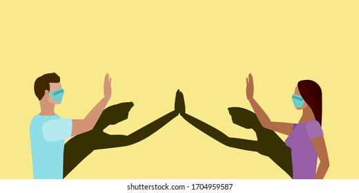 Social distancing greeting concept vector where two people high five at a distance but their shadows touch to prevent spread of COVID-19 coronavirus pandemic