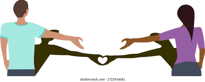 Social distancing greeting concept vector where two people remain at a distance but their shadows create a love heart to prevent spread of COVID-19 coronavirus pandemic