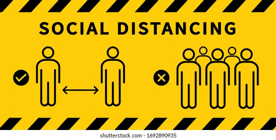 Social distancing icon. Keep the 2 meter distance. Avoid crowds. Coronovirus epidemic protective. Vector illustration