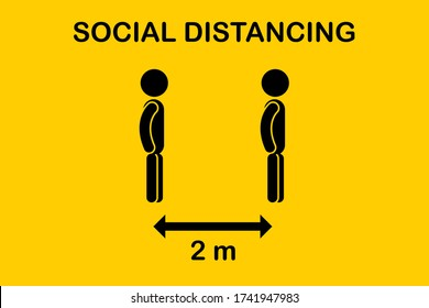 Social distancing icon. Keep Safe Distance 6 Feet or 2 meter.Quarantine measures sign coronavirus. Symbol people with arrow distance between.Can be used stand in a line queue public offices and banks.