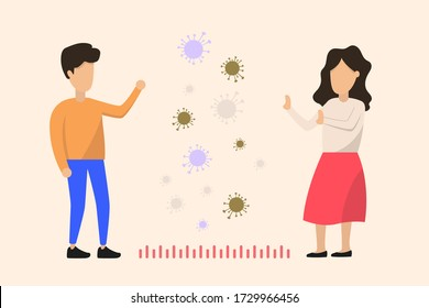 Social distancing, keep distance with people in public places to stop spreading COVID-19 coronavirus concept. Man and woman. A woman and a man stand apart from each other with virus cells between