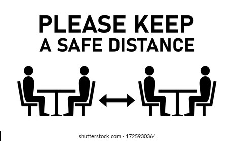 Social Distancing Keep a Safe Distance between the Tables in Cafe or Restaurant Icon. Vector Image.