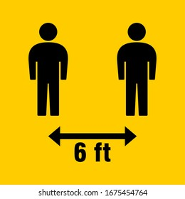 Social Distancing Keep Your Distance 6 Feet Icon. Vector Image. - Shutterstock ID 1675454764