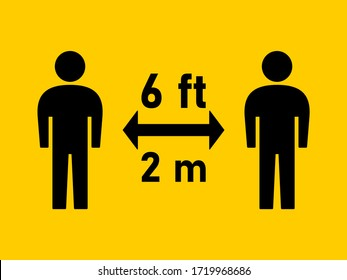 Social Distancing Keep Your Distance 6 ft 2 m Instruction Icon. Vector Image.