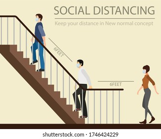 Social distancing. keep your distance in New normal Concept,People men and women wearing medical face are going up stairs. prevent pandemic of corona virus or COVID-19. Flat Vector illustration.