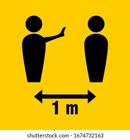 Social Distancing Keep Your Safety Distance 1 Meter Icon. Vector Image.
