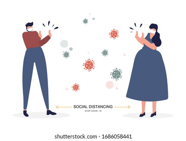 Social distancing, Keeping the distance in public to prevent and stop spread corona virus (COVID-19). Vector illustration.