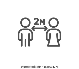 Social distancing line icon. 2 meters distance between sign. Coronavirus pandemic symbol. Quality design element. Editable stroke. Linear style social distancing icon. Vector