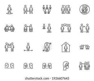 Social distancing line icons set. linear style symbols collection, outline signs pack. Physical distancing vector graphics. Set includes icons as keep your distance, stay home, coronavirus prevention