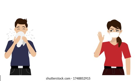 Social distancing. Man sneezing with droplets and aerosols. Woman with surgical face mask keeping protective distance 6 feet to protect from COVID-19 coronavirus spreading. Isolated on white.