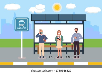 Social distancing with many people on queue line in bus station. Passenger waiting bus stop. City community transport vector concept illustration with diverse commuters standing together.Distance icon