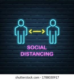 social distancing neon sign vector elements