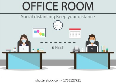 Social distancing at Office room. People Office worker man and women wearing medical face mask.Keep your distance prevent pandemic of corona virus or COVID-19 in New normal concept.Vector illustration