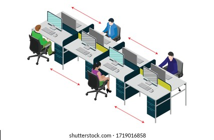Social distancing at office workstation. Employees are working together on desk with maintaining distance for covid 19 virus. Vector illustration of workstation signage.