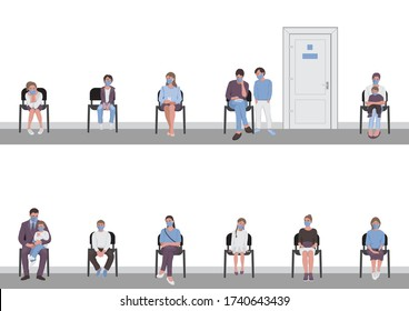 Social distancing of parents with children sitting on chairs in corridor and waiting in the queue turn the door