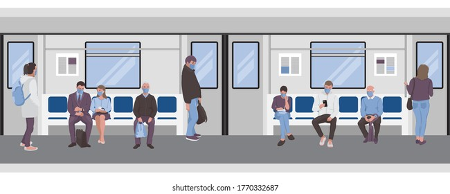 Social distancing of people inside a subway train. Passangers of metro seamless border