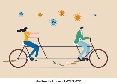 Social distancing, people keep distance in public to protect from COVID-19 Coronavirus outbreak spreading concept, couple man and woman keep distance away on tandem bicycle with Coronavirus pathogens.