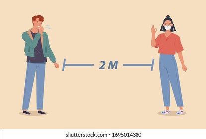 Social distancing, People keeping distance for infection risk and disease, wearing medical mask for prevent virus Covid-19 Coronavirus. Vector illustration in a flat style