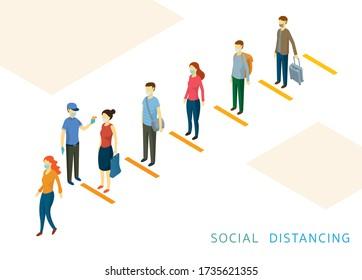 Soziale Distanzierung, Menschen in einer Reihe oder Linie, Prävention der Coronavirus Covid-19-Krankheit