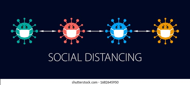 Social distancing prevention with covid 19 virus infection icon concept design background.  Covid-19 coronavirus