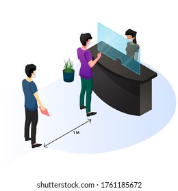 Social distancing and protection, people standing infront of a counter and wearing surgical protective mask. vector illustration.