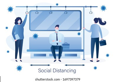 Social distancing in public transport. People in subway, male and female characters with protective masks on faces. Humans sitting and standing in metro. Coronavirus pandemic. Flat Vector illustration