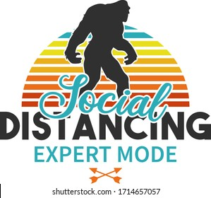 Social Distancing Quarantine Design. Vector Illustration Badge Retro style.