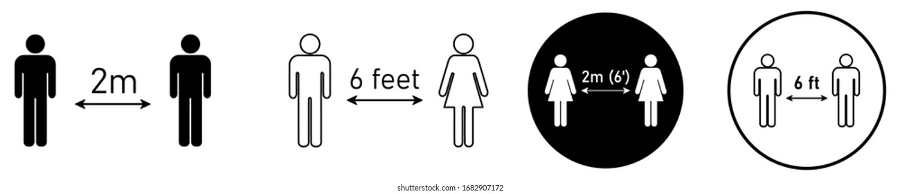 Social distancing set of icons. Simple man or woman black and white silhouettes with arrow distance between. Can be used during coronavirus covid-19 outbreak prevention