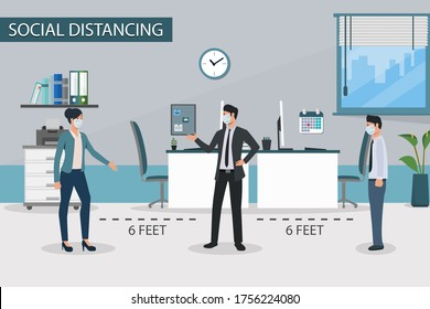 Social distancing at workplace. People business man and business women wearing medical face mask.Keep your distance prevent pandemic of corona virus or COVID-19 in New normal.Flat Vector illustration.