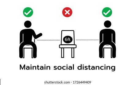 Social distancing,Please do not sit here to prevent from Coronavirus or Covid-19 pandemic,6 Feet social distancing for chair seat