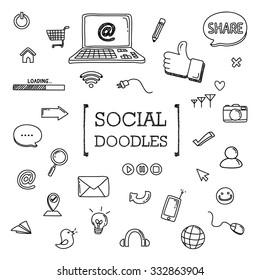 Social doodles set