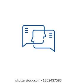 Social engagement line icon concept. Social engagement flat  vector symbol, sign, outline illustration.