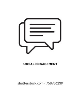 Social engagement vector icon, speech bubble symbol. Modern, simple flat vector illustration for web site or mobile app