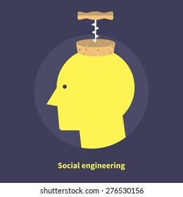 Social engineering, hacking - isolated flat vector illustration.