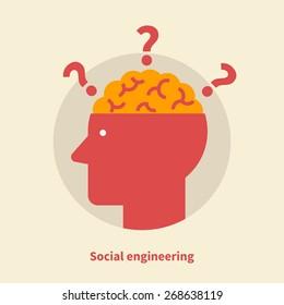 Social engineering - isolated flat vector illustration.