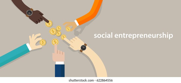 social entrepreneurship concept of business with good impact developing community helping  others in need. hands working together as a team