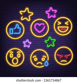 social feedback neon icons, vector neon glow on dark background