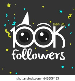 Social Greeting thank you for 100k followers or subscribers concept. Vector template celebration card