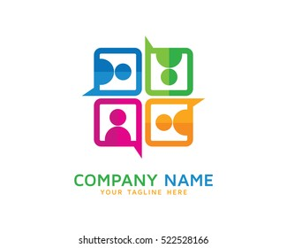 Social Group Chat Logo Design Template