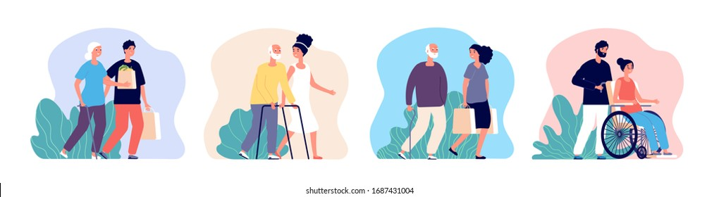 Social help. Care senior, volunteer working with elderly. Young male female caring older people. Patient health support vector illustration