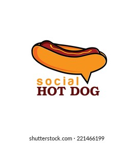 social hot dog concept vector design template