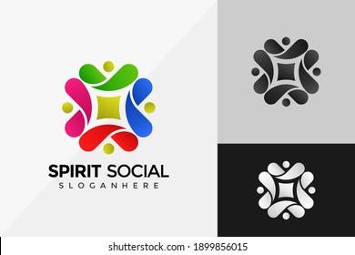 The Social Humanity Colorful Logo Design, Modern Logo Designs Vector Illustration Template