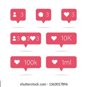 Social icon. Media set icons pack. Comment, follow and heart button. Vector illustration