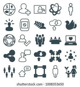 Social icons. set of 25 editable filled and outline social icons such as group, share, roundelay, laptop with heart, bird, marketing, network connection, download cloud