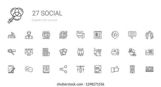 social icons set. Collection of social with like, chat, vector, share, biography, sketch, post it, card, group, cards, news, search engine. Editable and scalable social icons.