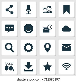Social Icons Set. Collection Of Pin, Conversation, Down Arrow And Other Elements. Also Includes Symbols Such As Inbox, Arrow, Envelope.