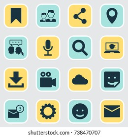 Social Icons Set. Collection Of Publish, Smile, Inbox And Other Elements. Also Includes Symbols Such As Gear, Message, Network.