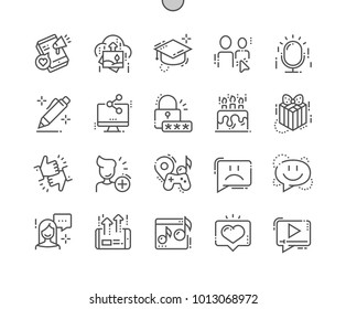 Social Icons Well-crafted Pixel Perfect Vector Thin Line Icons 30 2x Grid for Web Graphics and Apps. Simple Minimal Pictogram